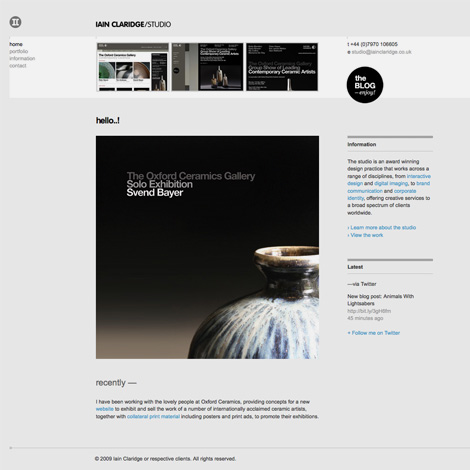 Iain Claridge Studio website