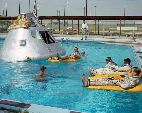 Apollo 1 crew during water egress training, June 1966