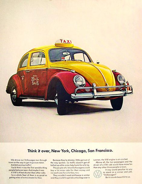 VW Beetle taxi ad