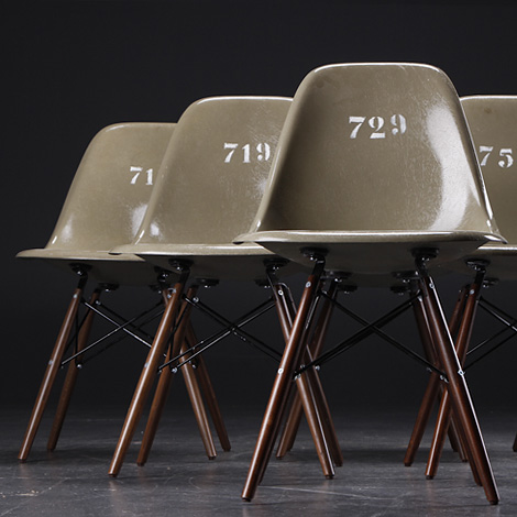 Eames army-green shell chairs