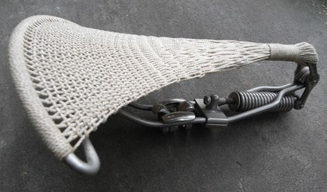 Woven bicycle saddle