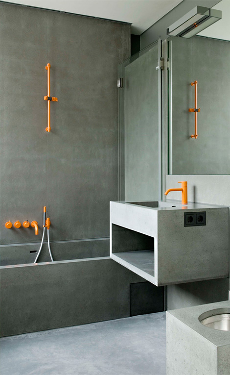 Grey & orange bathroom