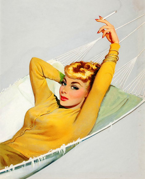 Blonde in a hammock