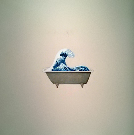 Hokusai in a bathtub