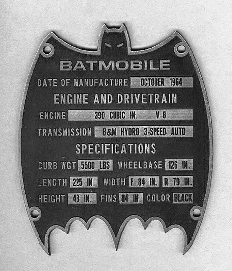 Batmobile specification plate