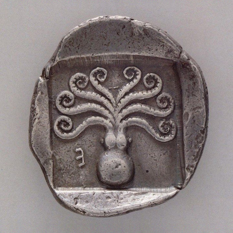 Greek coin with octopus