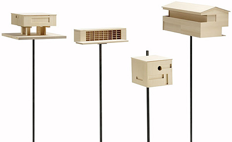 Modernist style replica birdhouses