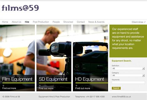 Films@59 hire landing page