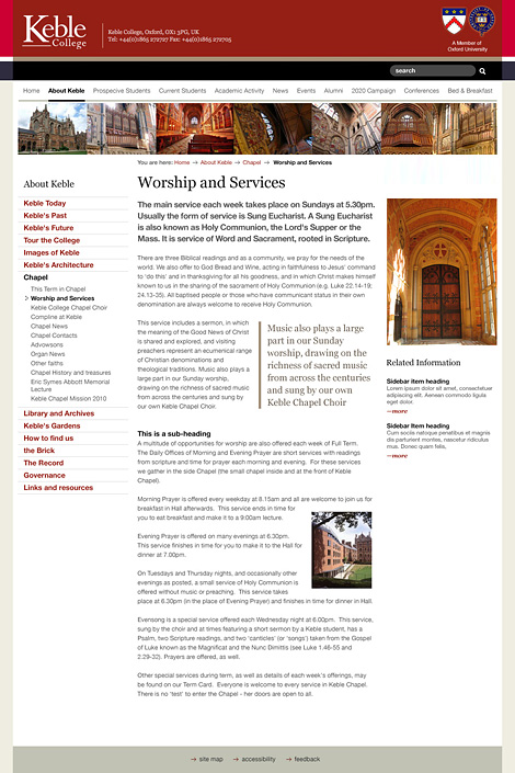Keble College website