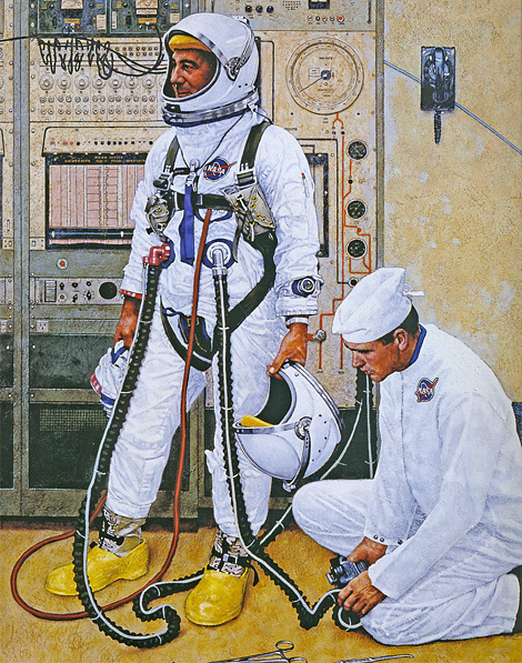 Norman Rockwell: Astronauts Grissom and Young Suiting Up