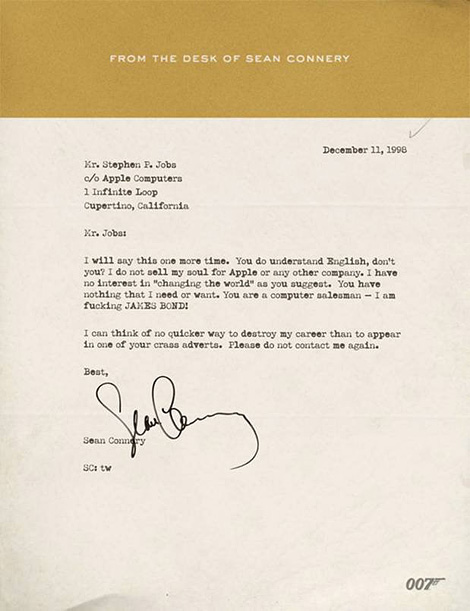 Sean Connery letter to Steve Jobs