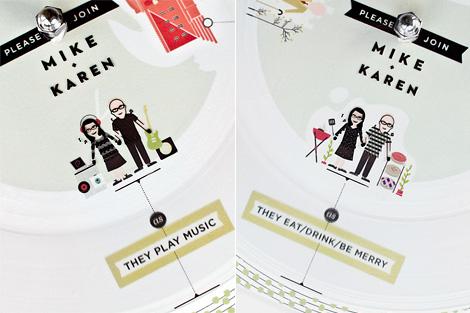 Paper record player wedding invitation