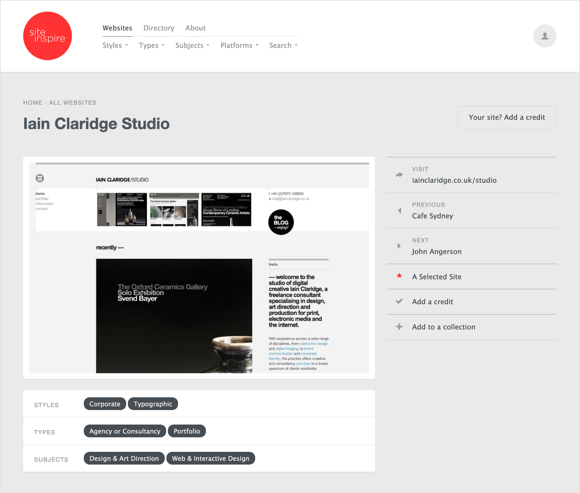 Iain Claridge Studio on Site Inspire