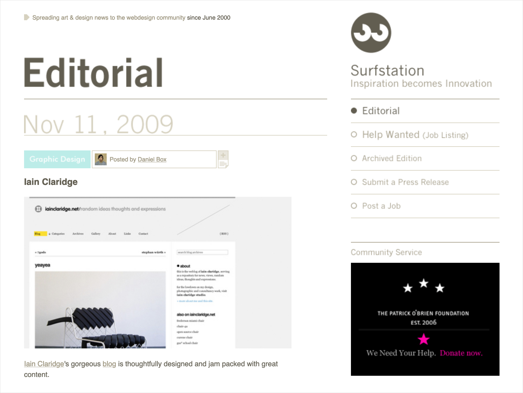 Surfstation and siteInspire… awww, you guys!