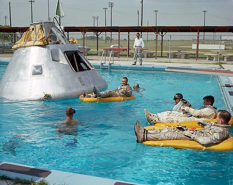 Apollo 1 crew during water egress training, June 1966