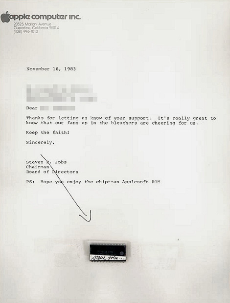 Steve Jobs Apple chip letter