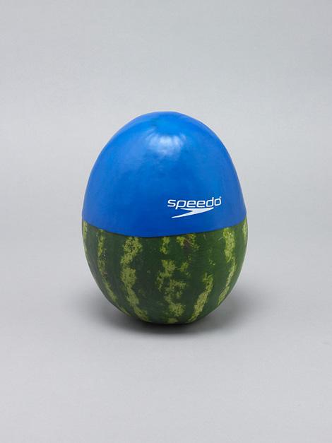 Watermelon & swimming cap (2011) by Daniel Eatock