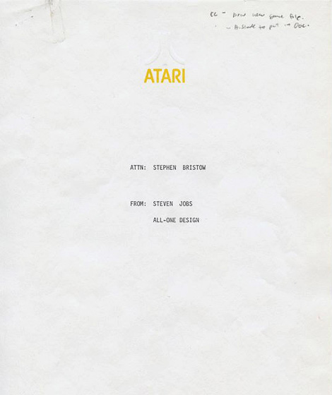 Steve Jobs Atari memo