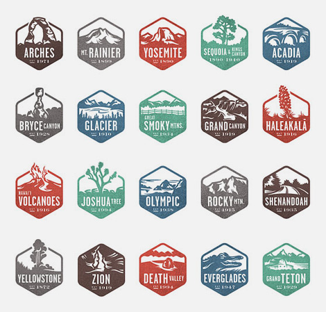 National Parks stamp icons