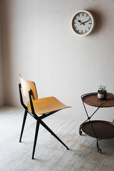 Chair, clock and sidetable