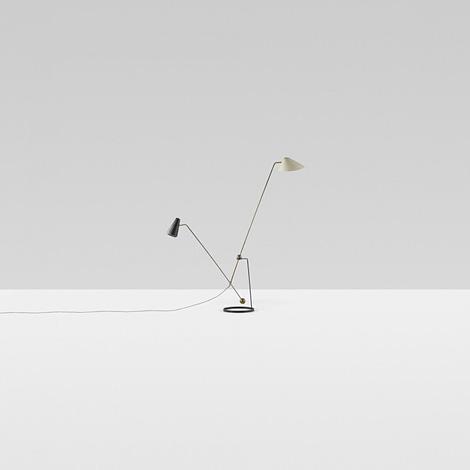 136: Pierre Guariche / Equilibrium Double-Branch floor lamp.