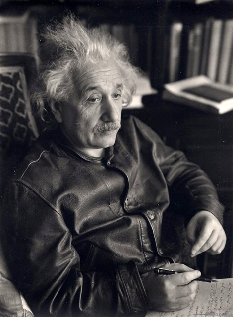 Einstein in leather jacket