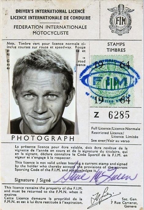 Steve Mcqueen's motorcycle licence