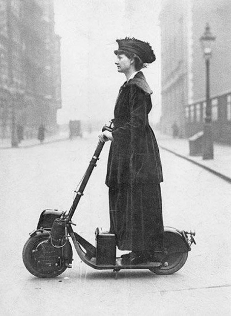 Woman on a scooter, 1916