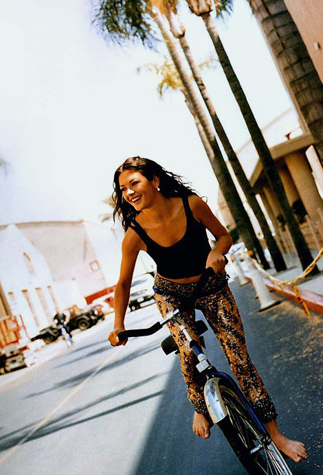 Catherine Zeta Jones on a bike