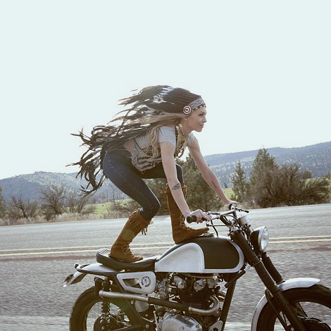 Squaw on a motorcycle