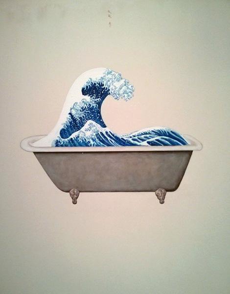 Hokusai in a bathtub