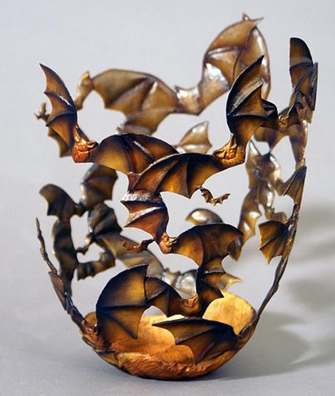 Wooden bat vase