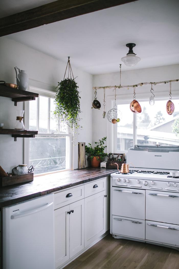 Copper and white rustic kitchen