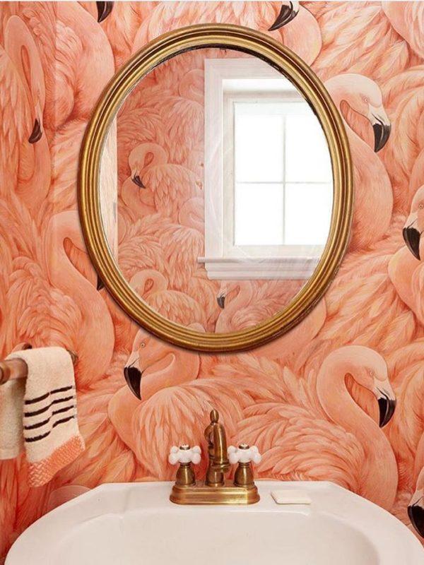 Pink flamingo washroom