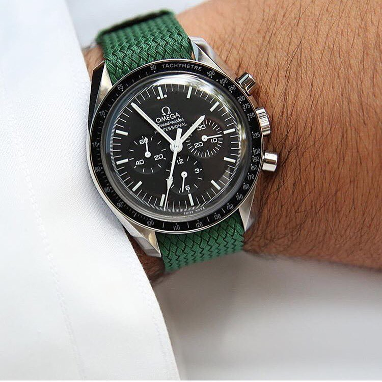 Omega Speedmaster on green nato
