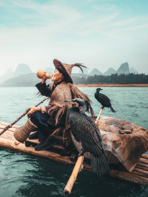 Lao Huang, cormorant fisherman x Peter Yan