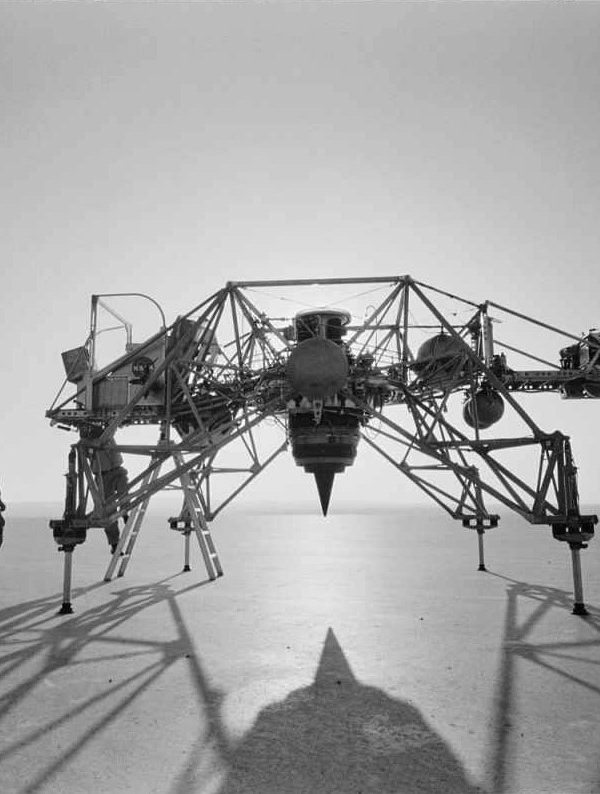 Neil Armstrong with Lunar Module prototype