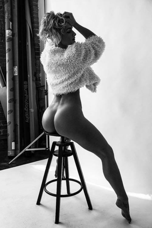 Woman on a stool