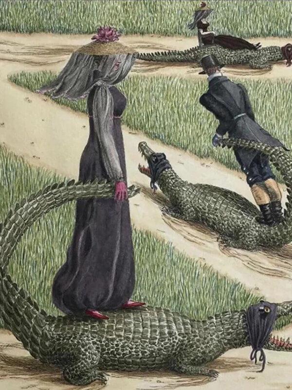 People riding alligators