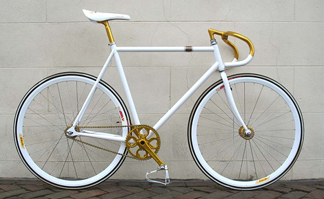 White and gold bike