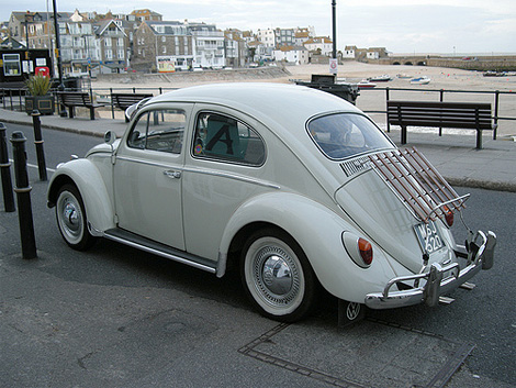 VW Beetle in St Ives harbour